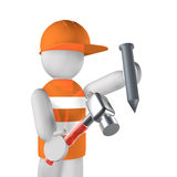 Worker with hammer and nail Royalty Free Stock Photography