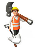 Worker with hammer and spade Stock Photography