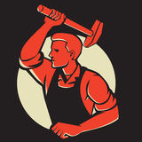 Worker With Hammer Striking Retro Royalty Free Stock Image