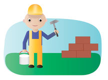 Worker with hammer. Vector illustration. Workman with hammer and bucket of paint Stock Photography