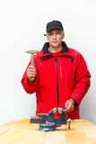 Worker with hammer Royalty Free Stock Images