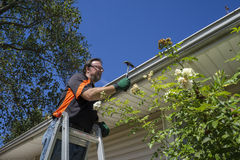 Worker Hammering Gutter Spike In. That came loose stock photography