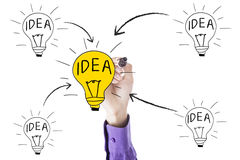 Worker hand drawing bulb with idea concept. Image of businessman hand using marker and drawing light bulb with idea concept Stock Photos