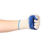 Worker hand glove clenching fist. Stock Photos