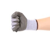 Worker hand glove clenching fist. Royalty Free Stock Photo