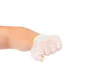 Worker hand glove clenching fist. Royalty Free Stock Photos
