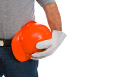 Worker hand with helmet an gloves Royalty Free Stock Images