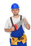 Worker with hand saw Stock Photo