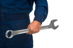 Worker hand with wrench Royalty Free Stock Photography