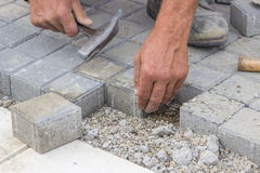 Worker hands  laying concrete brick pavers 2 Stock Image