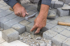 Worker hands  laying concrete brick pavers Stock Photos