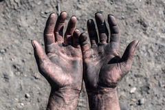 Worker Hands. Worker Man with Dirty Hands Royalty Free Stock Image
