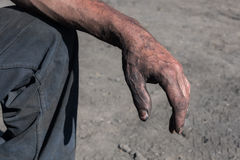 Worker Hands. Worker Man with Dirty Hands Royalty Free Stock Photo