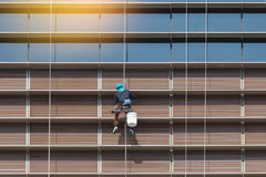 Worker hanging outside high rise building cleaning window and mirror. Stock Images