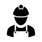 Worker with hard hat icon Stock Images