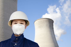 Worker with hardhat and mask at power plant Stock Photos
