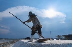 Worker is harvesting sea salt at salt field. Royalty Free Stock Images