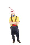Worker in hat with respirator. Royalty Free Stock Image