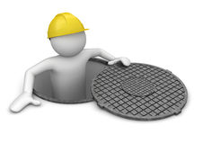Worker in hatch Royalty Free Stock Image