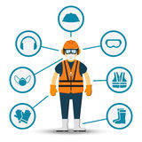 Worker health and safety vector illustration Royalty Free Stock Photos