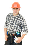 Worker in a helmet Royalty Free Stock Image