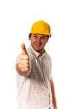 Worker in helmet. Man in yellow helmet on white Stock Photography