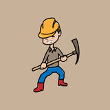 Worker and helmet and axe Royalty Free Stock Images