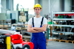 Worker with helmet in factory royalty free stock images