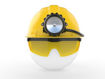 Worker with helmet and head lamp Stock Image
