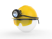 Worker with helmet and head lamp Royalty Free Stock Images
