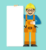 Worker in helmet holding a blank poster Royalty Free Stock Photos