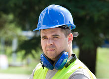 Worker with helmet Royalty Free Stock Photos