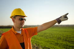 Worker with Helmet Sunglasses and gloves Stock Images