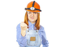 Worker in helmet threatening fist Stock Photos