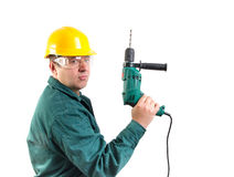 Worker hold drill as a gun Stock Images