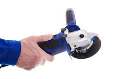 The worker holding angle grinder Royalty Free Stock Photo