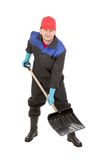 Worker holding black shovel. Royalty Free Stock Image