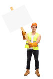 Worker holding a blank signboard Royalty Free Stock Photo