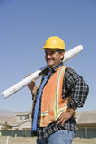 Worker Holding Blueprint Royalty Free Stock Photo