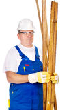 Worker holding boards Royalty Free Stock Photos