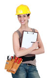 Worker holding a clipboard Stock Image