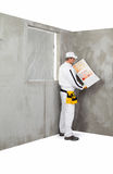 Worker holding a colour samples palette Royalty Free Stock Image