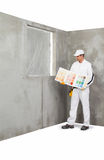 Worker holding a colour samples palette Royalty Free Stock Photography