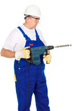 Worker holding drill for concrete Royalty Free Stock Image