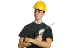Worker holding electric drill Royalty Free Stock Images
