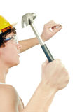 Worker holding hammer Royalty Free Stock Photos