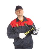 Worker holding hammer in hand. Stock Image