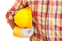 Worker holding helmet Royalty Free Stock Images