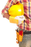 Worker holding helmet Stock Photography