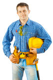 A worker holding helmet isolated Royalty Free Stock Image